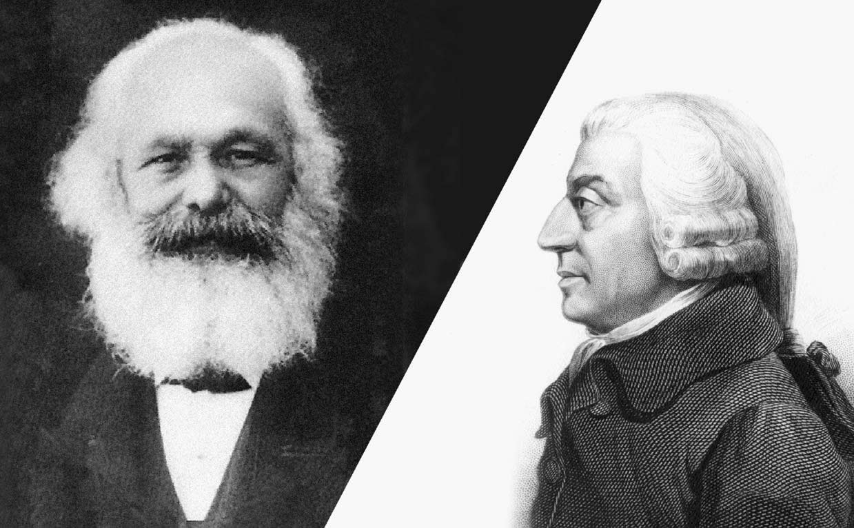 essay on karl marx and adam smith Summary: a comparison between adam smith's arguments for a free-market economy and karl marx's arguments for communism both individuals sought to attain a stable economy and government and to reduce class tensions by ensuring a larger middle class while smith and marx supported completely.