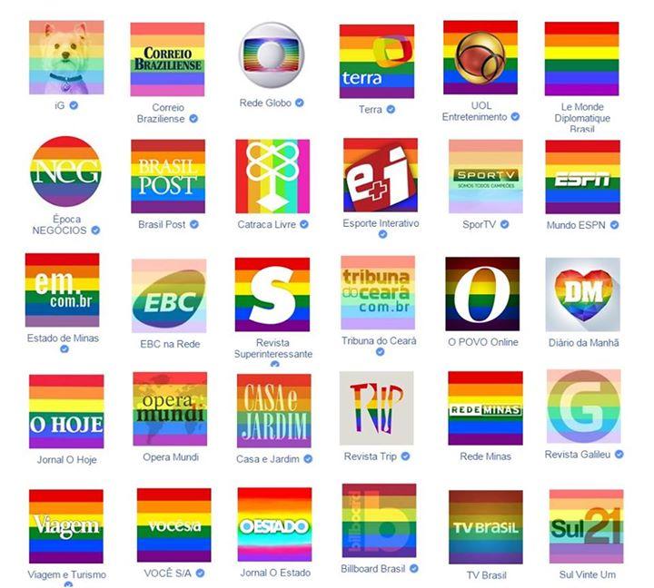 Marcas de diversas empresas brasileiras com avatar em apoio ao casamento igualitário.