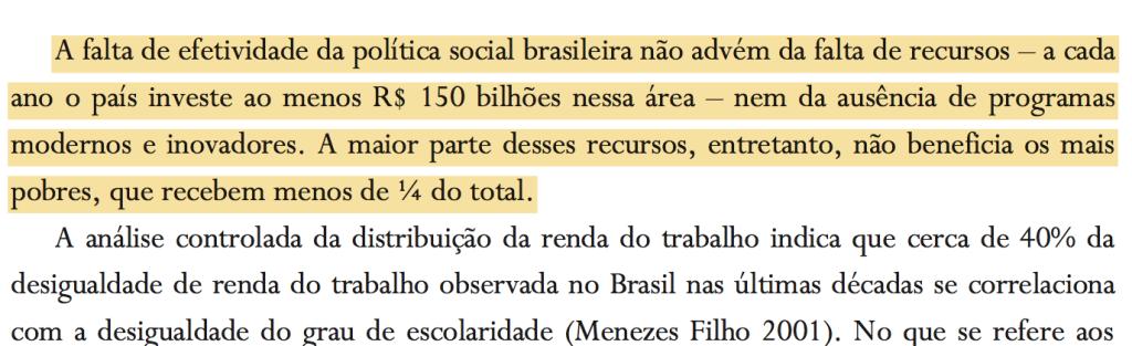 Trecho da Agenda Perdida, que tinha Marcos Lisboa como um dos autores e propunha, ainda em 2001, a focalização do gasto social;