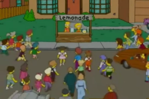 Lisa e Bart vendem limonada